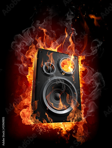 Foto auf Leinwand Flamme Burning speaker