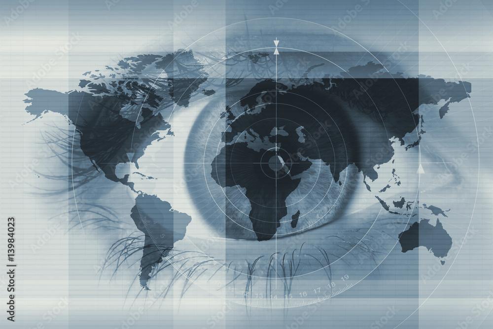 Fototapeta eye and worldmap