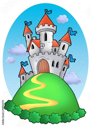 Poster Kasteel Fairy tale castle with clouds