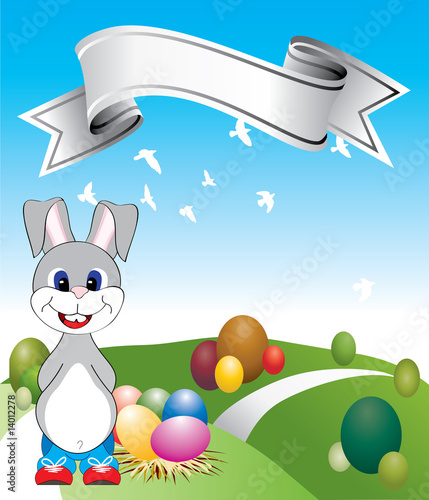 Poster Oiseaux, Abeilles Cute bunny with Easter eggs
