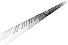 Piano Keyboard On White Background With Space For Text