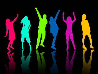 silhouette people party dance