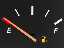 A Closeup Of A Car Fuel Gauge ...