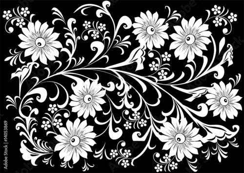Staande foto Bloemen zwart wit seven big white flower background