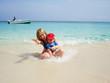 Mum and son on the beach
