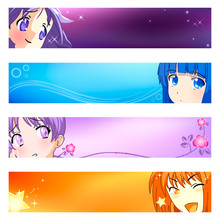 Colorful Anime Girls Banner Or Sider Backgrounds.