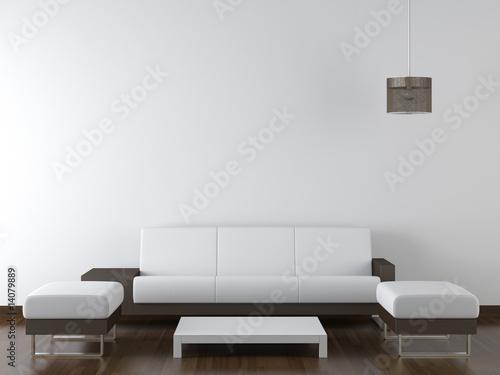 Fotografie, Obraz  interior design modern white furniture on white wall