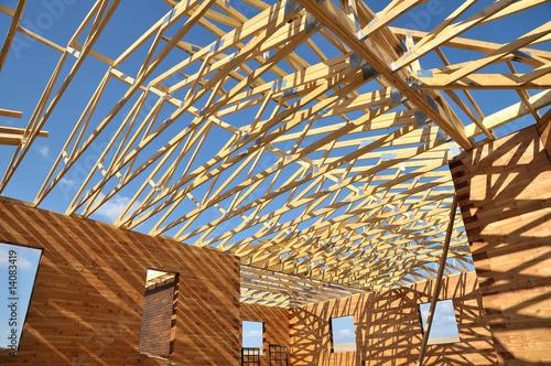 Fotografie, Obraz  Construction d'un chalet tout bois.