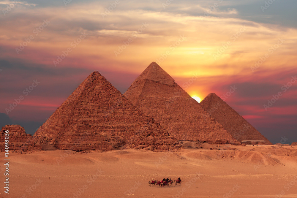 Fototapeta pyramid sunset