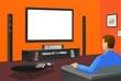tv in orange room