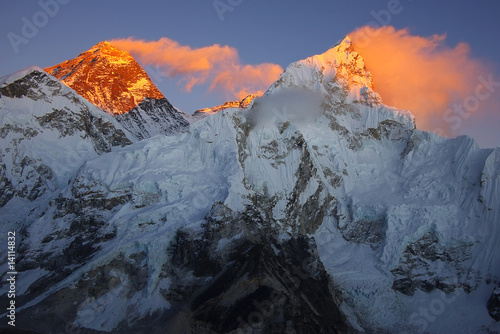Foto op Canvas Zwart Top of the world Everest 8848m and Nupse 7864m
