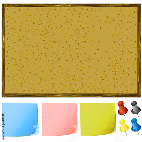 notice board and post-it notes, pins vector - Buy this stock