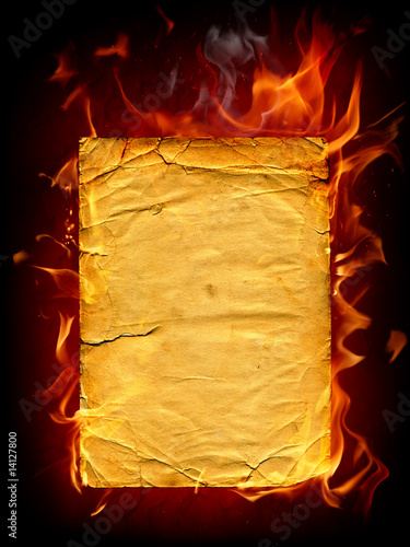 Poster Flamme Burning paper