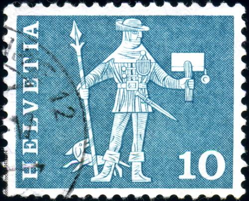 Pinturas sobre lienzo  Helvetia. Messenger. Stamp.