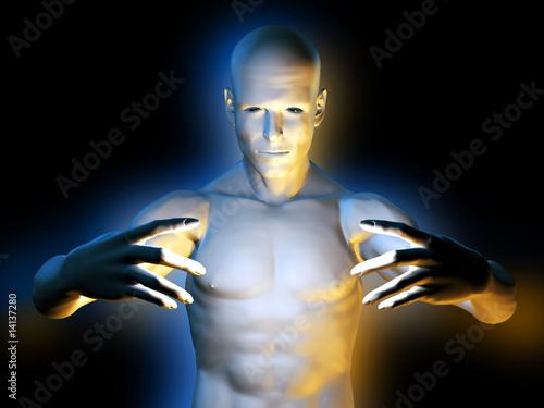 Acrylic Prints Strange magic man in hypnotic pose