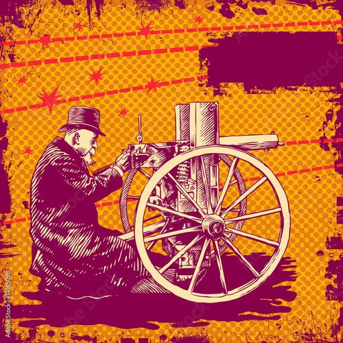 Poster  background with elderly man with a machine gun