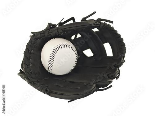 baseball ball and glove Poster
