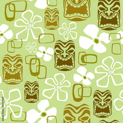 Cotton fabric Seamless Exotic Tiki Paradise Pattern