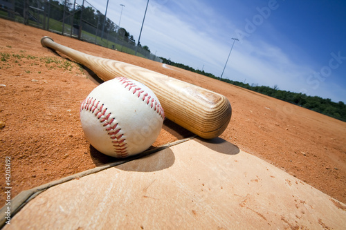 Photo  Baseball and Bat on Home Plate