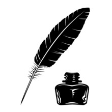 Vector Feather And Ink Bottle ...