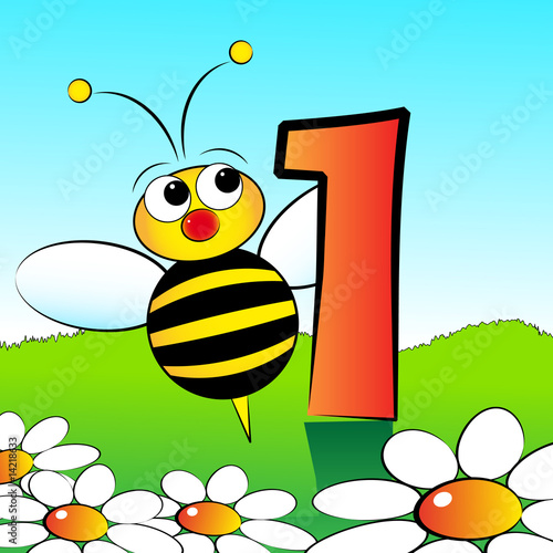 Numbers serie for kids - #01 Bee #14218633