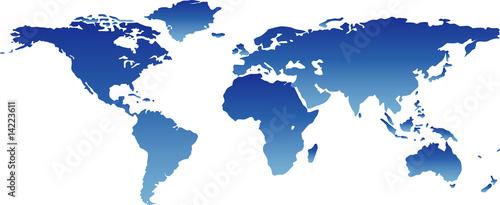 Foto op Canvas Wereldkaart blaue weltkarte