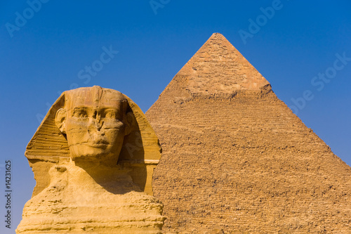Tuinposter Egypte The Sphinx and the great Pyramid