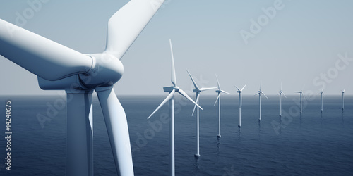 Fotografia  Windturbines on the ocean