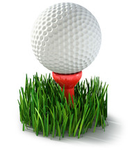 White Golf Ball On A Tee In Grass, Isolated On White