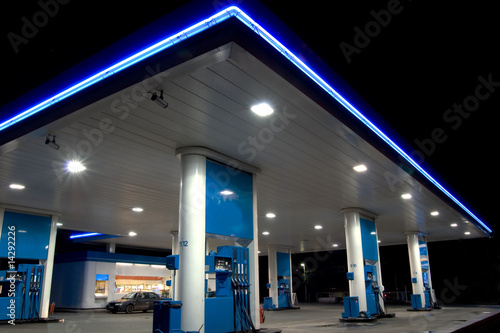 Photo  Blue filling station