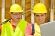 canvas print picture - Zwei Arbeiter mit Laptop