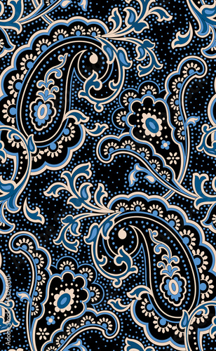 Fotografie, Obraz Outlined classic paisley on a pois background