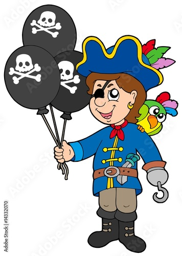 Foto op Canvas Piraten Pirate boy with balloons