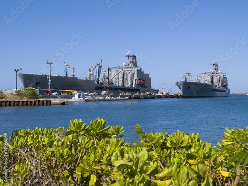 Photo  U.S.S. Missouri, a warship located at Pearl Harbor, Hawaii
