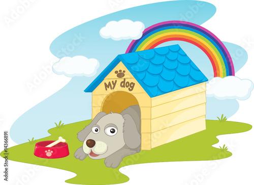 Deurstickers Franse bulldog Dog in his kennel illustration