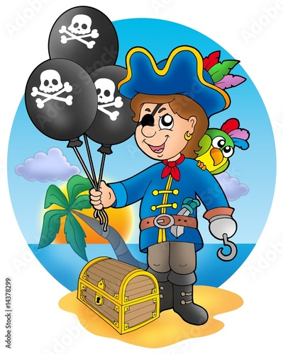 Poster de jardin Pirates Pirate boy with balloons on beach