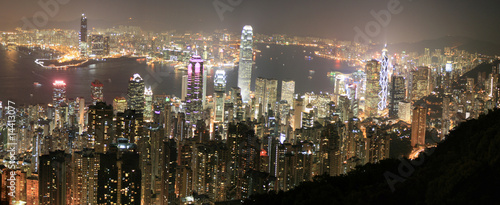 Hong Kong (Hongkong) China - Skyline bei Nacht