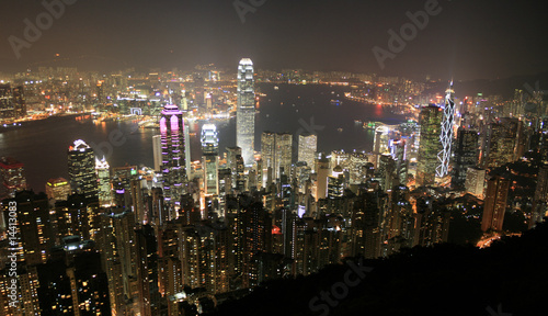 Foto-Kassettenrollo premium - Hongkong Skyline bei Nacht - Asiens Finanzmetropole (von XtravaganT)