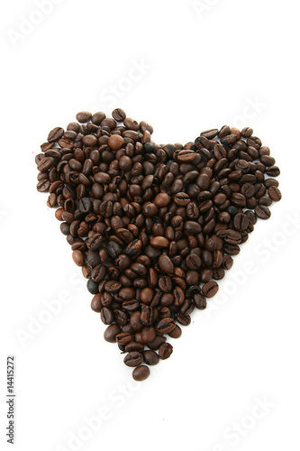 Canvas Prints Coffee beans coeur en grains de café