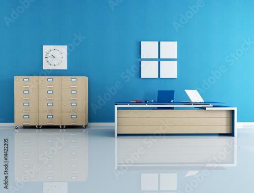 Fényképezés  blue office interior - rendering