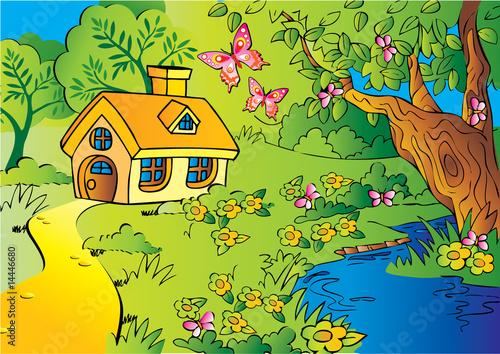 Staande foto Kasteel Little house in woods