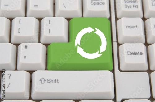 Keyboard with green Enter key with recycling symbol - Buy