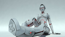 Female Robot  That Sits