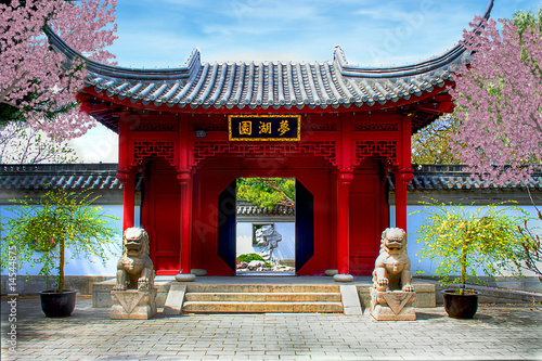 Printed kitchen splashbacks Place of worship Chinese botanical garden of Montreal. (Quebec Canada)