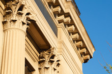 Columns And Cornices On An Old Bank Building