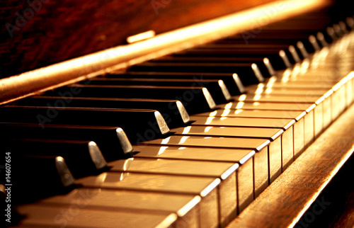 Fotografie, Obraz  Golden Piano Keys