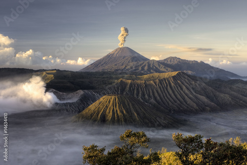 Staande foto Indonesië Mount Bromo volcano after eruption, Java, Indonesia