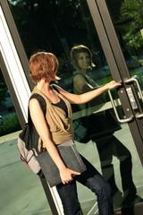 Student Walking into School