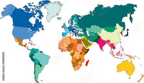 Staande foto Wereldkaart Planisphère en couleurs