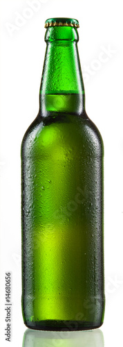 Photo Green bottle of beer